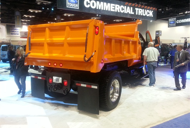 This F-750 appears at Ford s booth at the Work Truck Show with a dump - Ford's 2016 F-650, F-750 ...