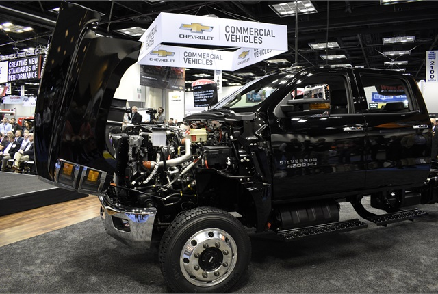 The trucks (4500HD pictured) offer a tilting hood so ...
