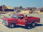 A 1975 Ford F-150 at a housing construction site.