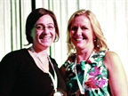 Theresa Belding (right), outgoing AFLA president, presented a