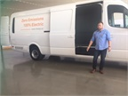 Austin Hausmann, vice president of R&D and product, shows the van