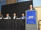 Dennis Straight (far right), CTO, Donlen, speaks during a panel on the