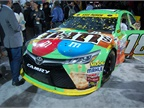 Toyota Camry tricked out in M&M s colors and ready to race.