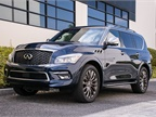 The QX80 is powered by a 5.6L V-8 that makes 400 hp and 413 lb.-ft. or