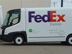 A FedEx Express Freightliner eCell and a Navistar eStar.
