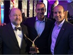 (l. to r.) 2016 Professional Fleet Manager of the Year George Survant, Automotive Fleet's Sherb Brown, and Wheels, Inc.'s Dan Frank
