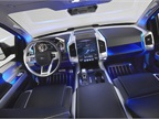 Inside the truck, the vehicle features  floating  instrument pods and