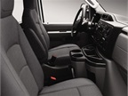 Maximizing the driver and passenger space, the van comes standard with