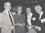 (from left) James Conlon of General Motors, Mrs. Edgar Dame, Mrs.