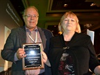 AF Editor Mike Antich awards Patsy Brownson, CAFM, her Fleet Hall of