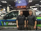 With a goal of two hours, the two technicians converted the truck in a record-setting one hour and 32 minutes. (PHOTO: Alliance AutoGas)