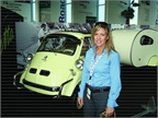 Tracy McCann, global fleet manager for Mylan, poses before a BMW
