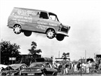 Be a stuntman for a day. Steve Matthews used his Transit to leap over