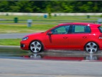 Attendees got first-hand tests of VW's traction control system,