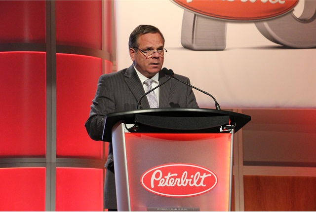 Landon Sproull, Peterbilt chief engineer, explains at a MATS press conference that the EPIQ package can improve fuel efficiency of the Model 579 by up to 10%.Photo credit: Evan Lockridge