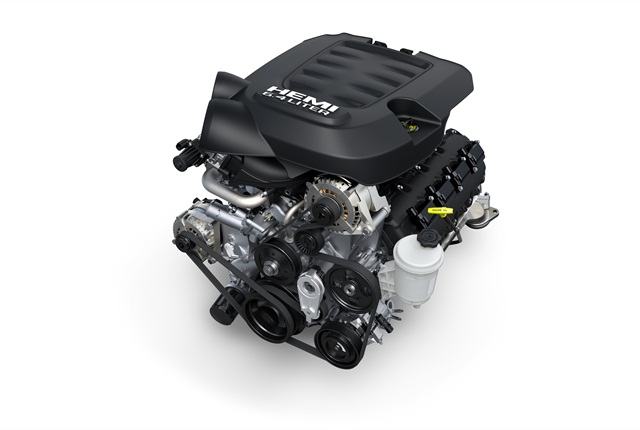 Bigger Hemi V-8 offers high power and torque for customers who carry or tow heavy loads but want gasoline power.