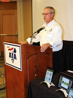 James J. Keller announces the availability of electronic logs on Apple devices at a press conference prior to the American Trucking Associations' annual convention. (Photo by Evan Lockridge)